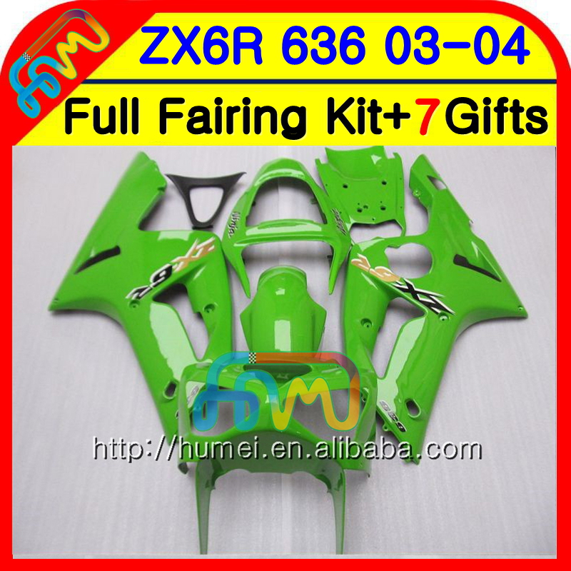 Body For KAWASAKI NINJA ZX-6R 03-04 ZX-636 ZX600 34NO.1 600CC ZX636 ZX6R 03 04 ZX 636 ZX 6R 2003 2004 Fairing kit Glossy green
