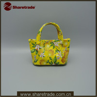 2016 Hot Sale Tote Type Mini PVC Cosmetic Bag With Flower Printed