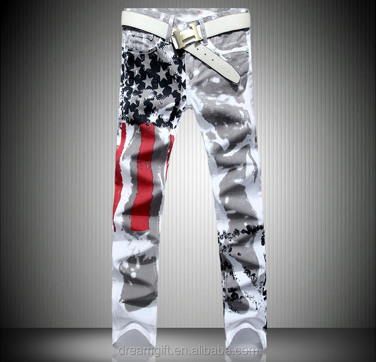 New Arrival men jean Pants slim straight jeans men's denim white pants pattern print Fashon Design USA Flag famous brand