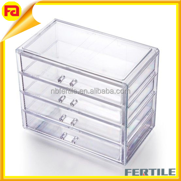 4 Drawer Storage Clear Acrylic Make Up Box Organiser Cosmetic Display Stand Case