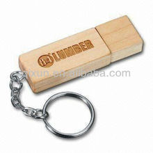 promotional bulk wooden keyring usb flash drive with laser logo free