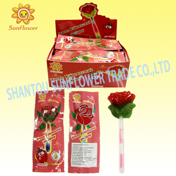 Sunflower Brand Fluorescent Stick Rose Lollipop Candy