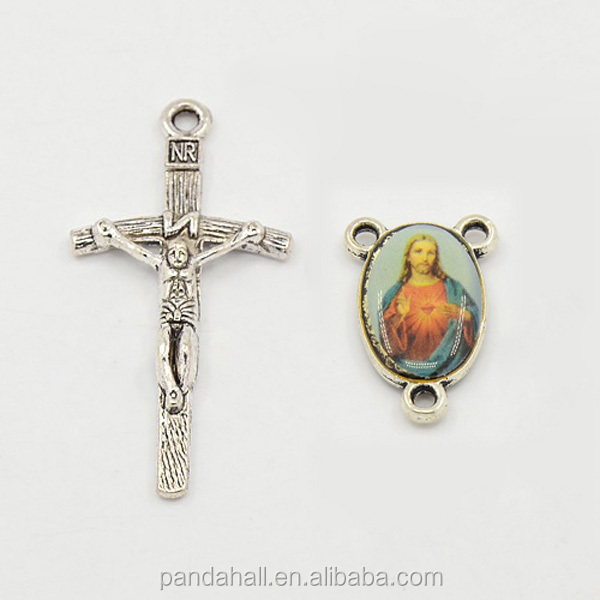 Catholic Wholesale Rosary Parts Crucifix and Holy Rosary Centers Beads for Rosary Making(TIBEP-MSMC021-33AS-LF)