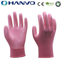 HANVO 13Guage Pink Nitrile Protective Hand Gloves