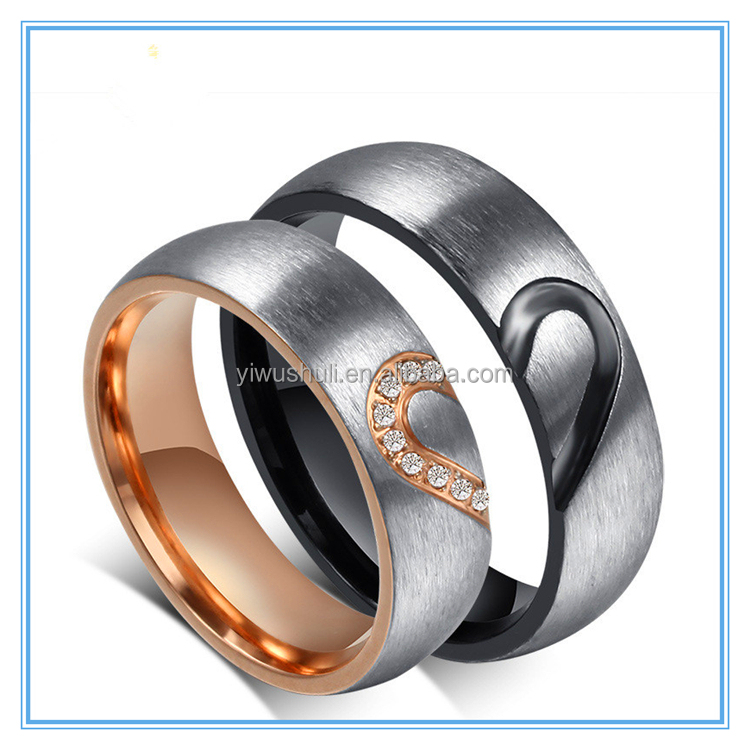 Romantic Rose Gold Half Heart Wedding Bands Finger Ring Titanium Couples Promise Ring