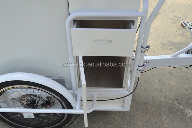 Street Vending Juice Food Cold Water Electric Ice Cream Bike with Freezer for Sale