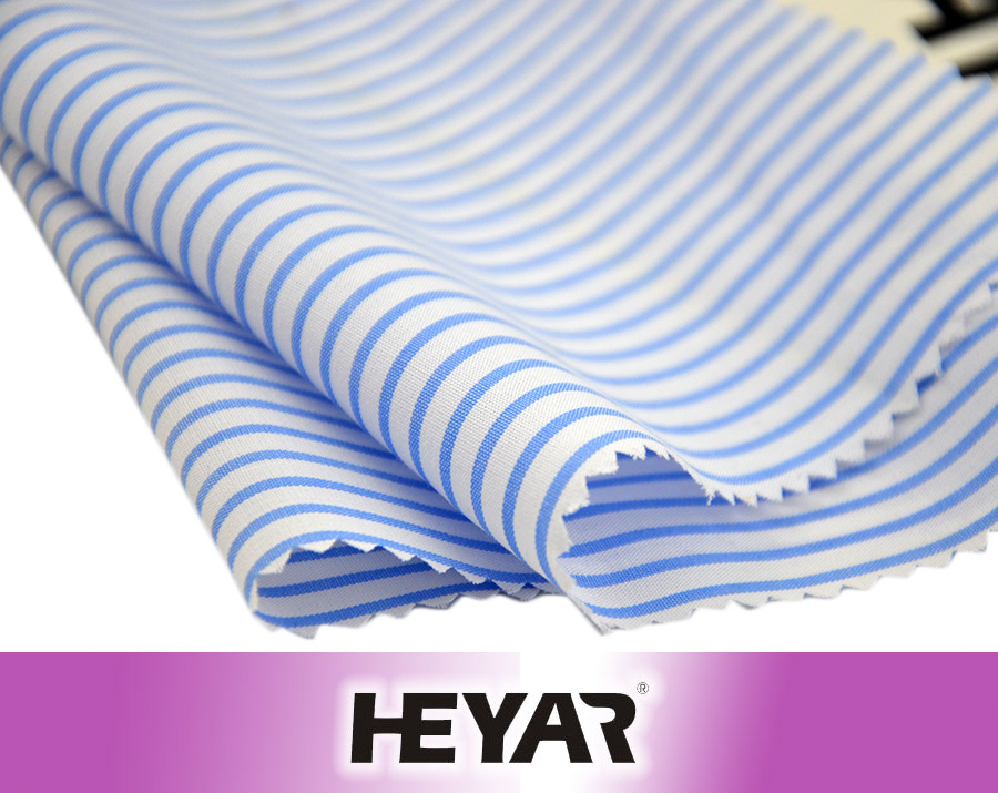 55 Cotton 45 Polyester Blue White CVC Yarn Dyed Stripe Fabric