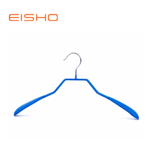 Blue pvc coated hanger wire metal hanger wide shoulder