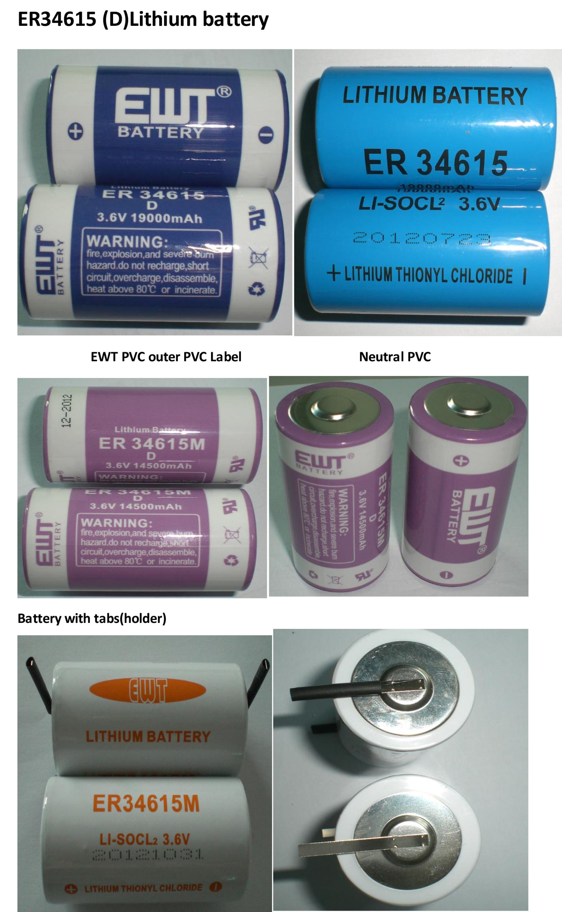 er34615s ER34615M ER34615 D size 19000mAh Lithium battery 3.6V in Thionyl Chloride Battery of Energy type