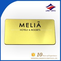 Shiny gold plating metal resorts nameplate signs hotel label