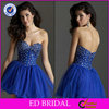 EDC018 Ball Gown Beaded Bodice Sweetheart Neckline Puffy Cocktail Dresses Short Royal Blue