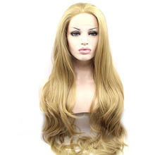 Light Brown Color Long Wavy Style Synthetic Hair Lace Front Wigs for White Women
