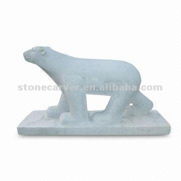 White Marble Polar Bear Statue
