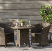 Cafe shop restaurant outdoor use half moon rattan chair and table furniture wicker meubles de jardin