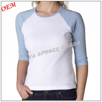 Professional high quality women blank 3/4 Sleeve t shirt manufacturers