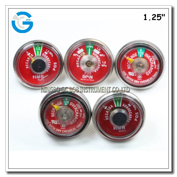 Mini pressure gauge for fire extinguisher