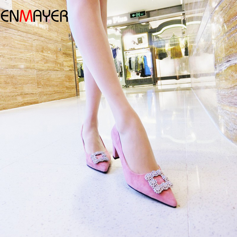 Korean fashion sheep leather diamond ornament sexy pointed toe lady high heel dress pump shoes