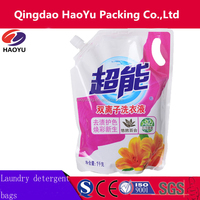 custom printed plastic packaging laundry detergent liquid stand up bag with spout / nozzle
