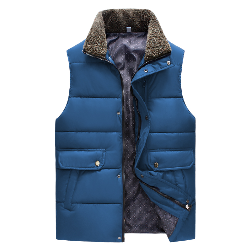 Men's lamb fur collar cotton vest wear male business casual vestidos winter apring autumn fashion new waistcoat