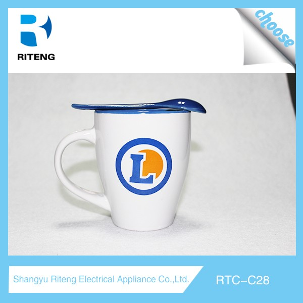 12oz Promotional White Sublimation Ceramic Mug With Spoon For Gifts