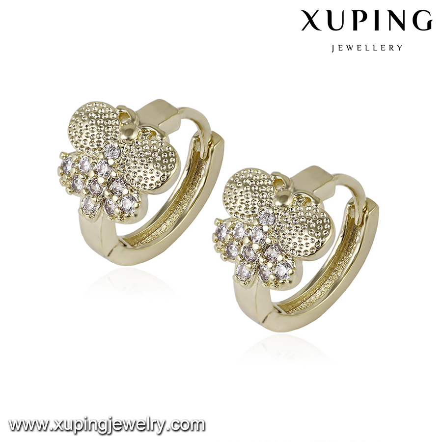 92990 xuping diamond earring, 14k gold color tanishq earrings designs, self piercing hoop earrings