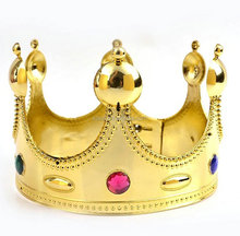 Plastic golden cheap large pageant king <strong>crown</strong> tiara for sale