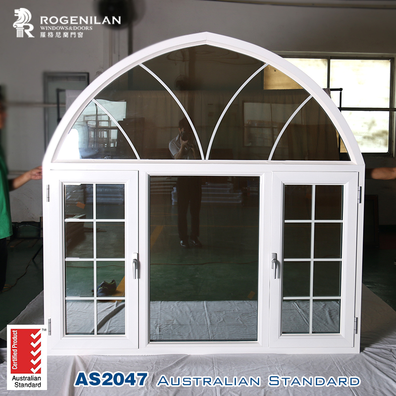 Rogenilan China glass aluminum arch top window new window grill design
