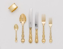 silver and 24K gold cutlery