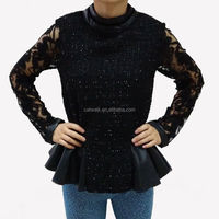 7089064 2014 new design apparel sexcy lady jacket / fashion openwork womens lace jacket black