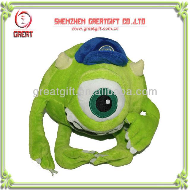 Plush toys big eye green monster stuffed animal cartoon toys custom toy for christmas gift