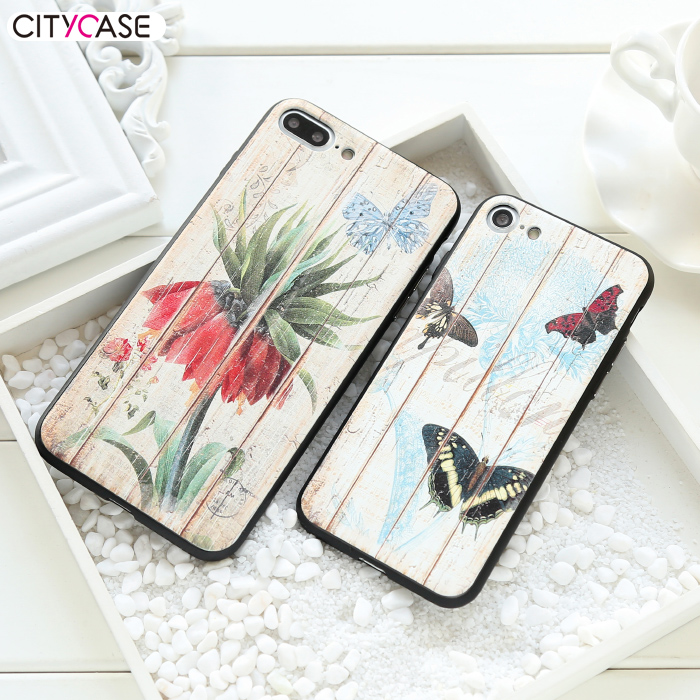 CITYCASE Wood Print TPU PMMA Mobile Phone Accessories Case for iPhone7 7plus Cover