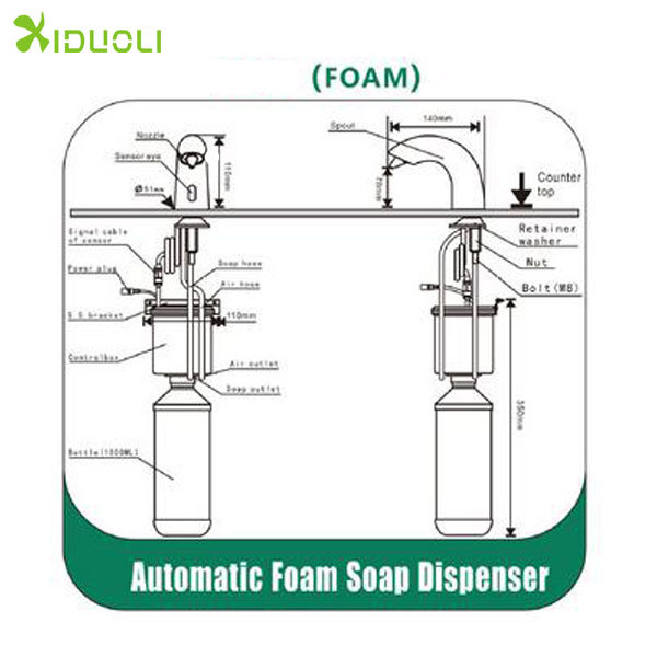 Bathrooms designs Automatic foam soap mixer dispenser,foam soap with faucet electric foam soap dispenser