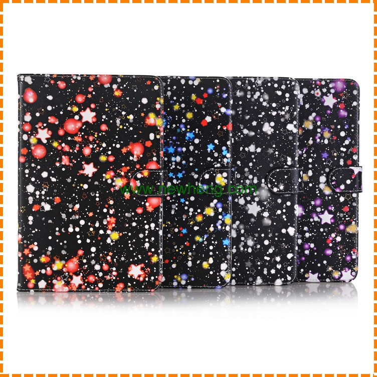 Hot selling glitter star leather wallet phone case for ipad mini 4