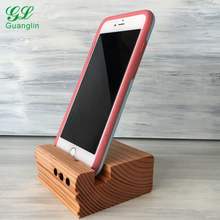 Cell phone wood stand sound amplifier