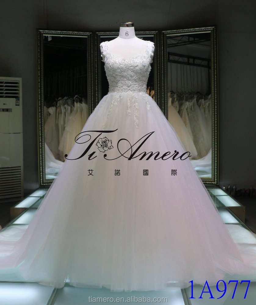 1A977 Elegant Pure White Beaded Appliqued U Neckline Lace-up A Line Wedding Gown Bridal Dress