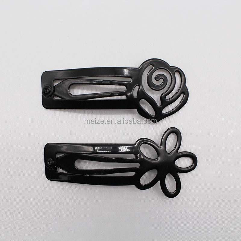 Simple Fashion Hair Accessories Lacquered Flower Metal Snap Hair Clip