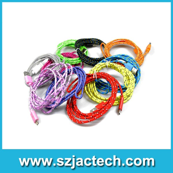 High quality 2M colorful Braided Micro USB phone Cable Charger Data Sync Cord for HTC for xiaomi for Nokia