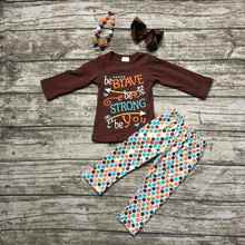 girls thanksgiving outfit kids Fall clothes girls be BRAVE be STRONG be You clothing children boutique outfits with accessories