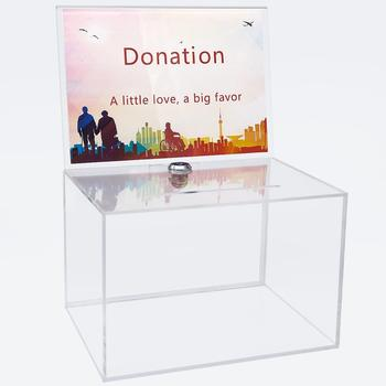 Wholesale clear acrylic donation box/donation box with lock
