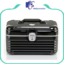 Aluminum makeup train cosmetic case/cosmetic box with combination lock