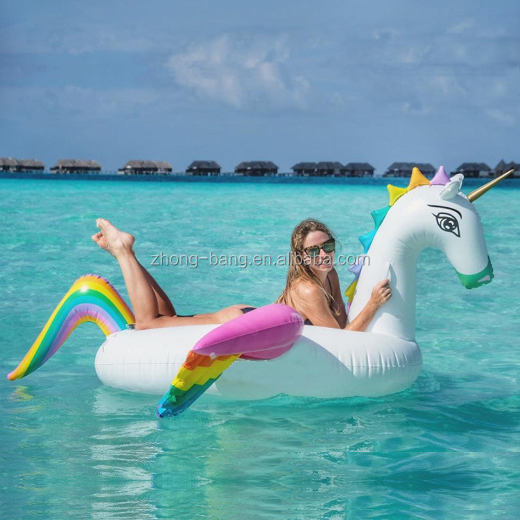 newly design stock colored inflatable Rainbow pegasus pool float