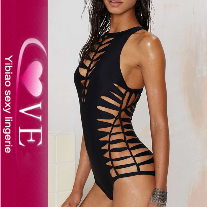 Hot Cut Out Ladies Mature Black One Piece Swimsuit