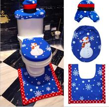 Christmas Bathroom Warmer Washable Cloth Toilet Seat Cover