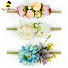 Remake Photo Prop Fairy Kids Party Wear Make Fabric Flower Stretchy Band Baby Girl Wear Headband