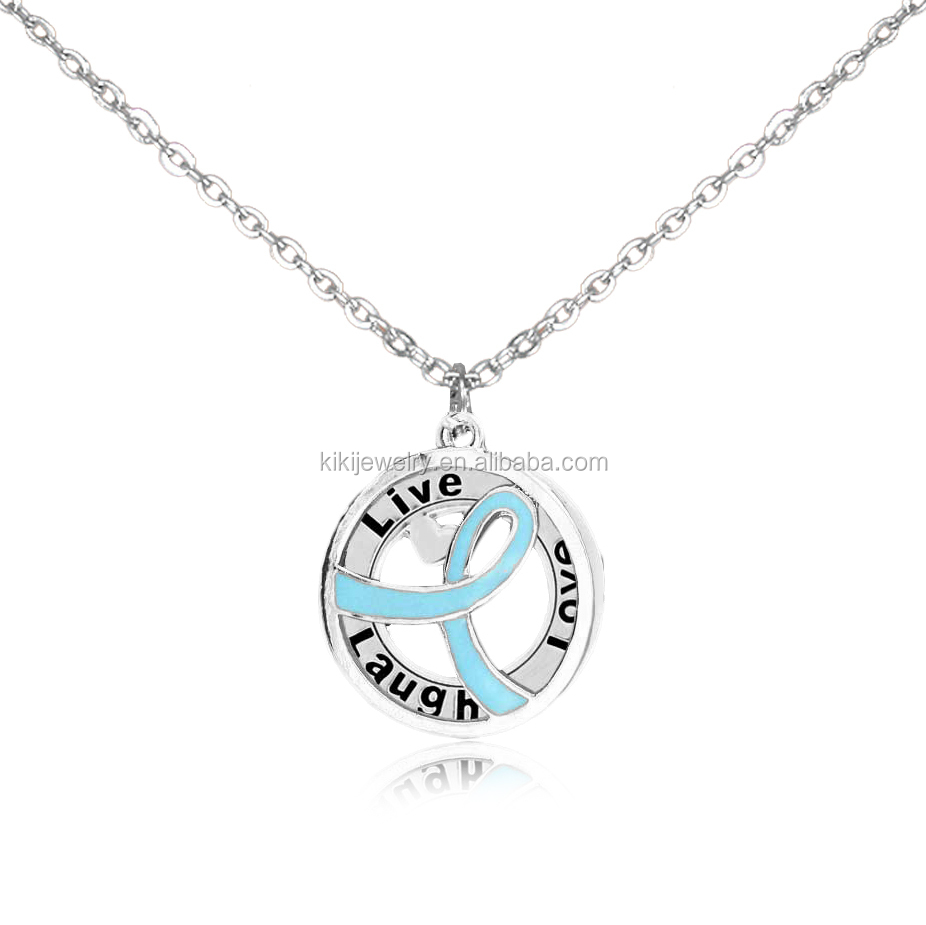 Personalized Engraved Word Live Laugh Love Ribbon Cancer Symbol Charms Necklace