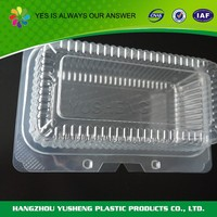 Transparent disposable used plastic food container
