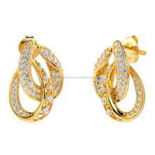 Saudi gold jewelry 18k solid gold earring unique design gold stud earrings