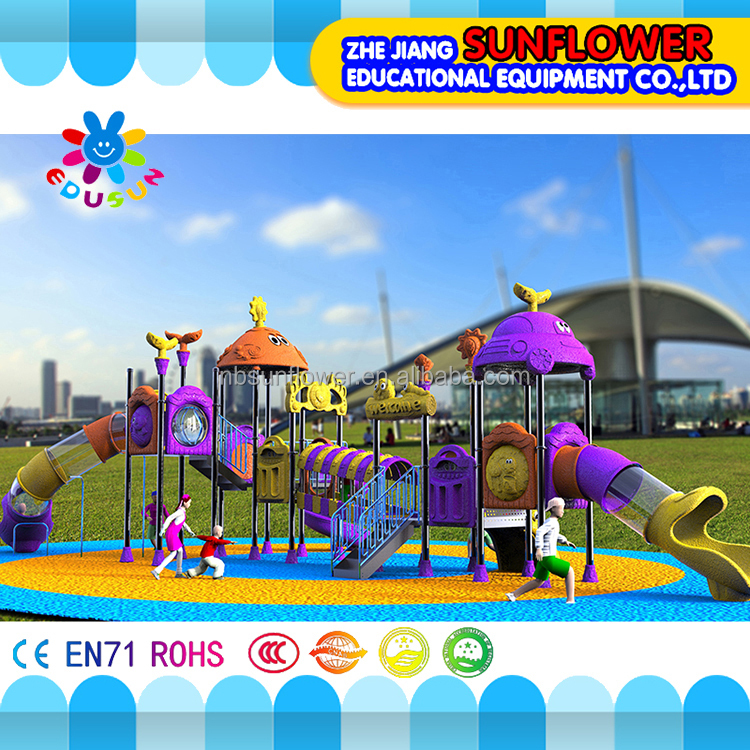 Children amusement park equipment two roof green safety kids tunnel
