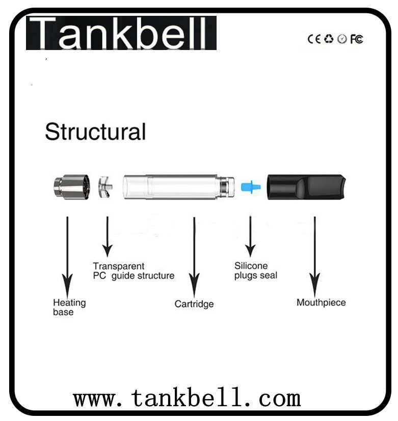 Tankbell wholesale 510 thread vaporizer cartridge custom packaging concentrate vaporizer ce3 plastic