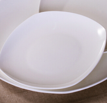 White Square Ceramic Porcelain Plate Dinner set for Hotel Restaurant Dining room